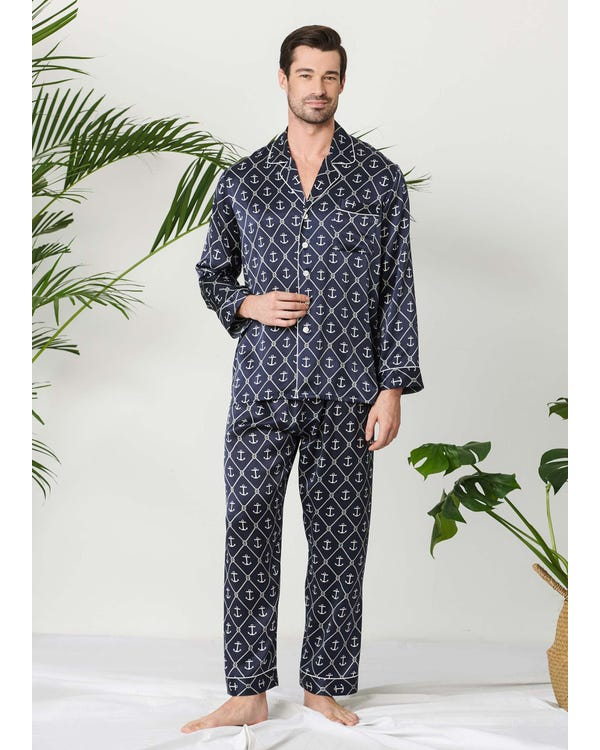 Sailor Anchor Printed Silk Pajamas For Men