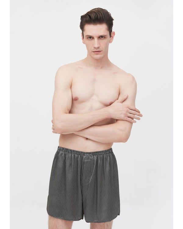 19匁メンズ クラシック ピン・ストライプ柄シルクボクサーブリーフ 夏用 お休みシルクショートパンツ