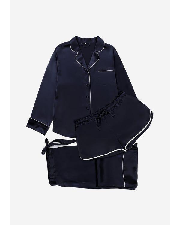 【22匁】レディース シルクパジャマ 3点セット【上質 トリミング】【ショート&ロングパンツ】