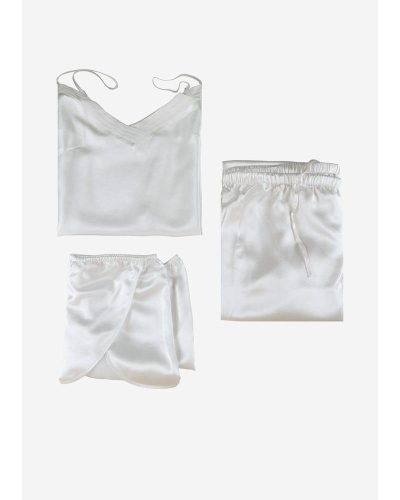 【22匁】レディース シルクパジャマ 3点セット【キャミソール】【ショート&ロングパンツ】