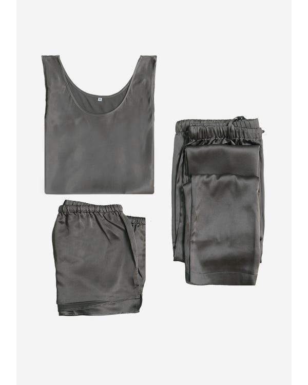 【22匁】レディース シルクパジャマ 3点セット【可愛い タンク】【ロング&ショートパンツ】