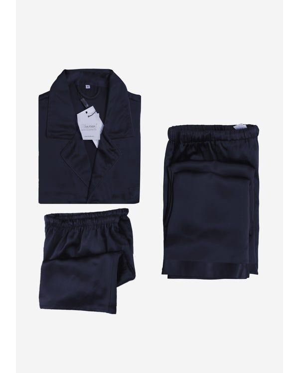 【22匁】メンズ シルクパジャマ 3点セット【クラシック】【半袖上着&ショート&ロングパンツ】 ネイビーブルー L