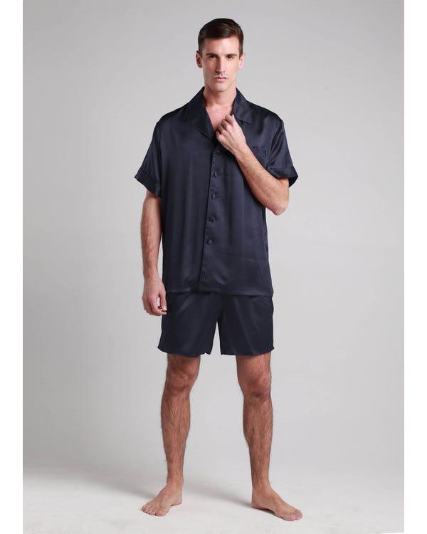 【22匁】メンズ シルクパジャマ 3点セット【クラシック】【半袖上着&ショート&ロングパンツ】 ネイビーブルー L-hover