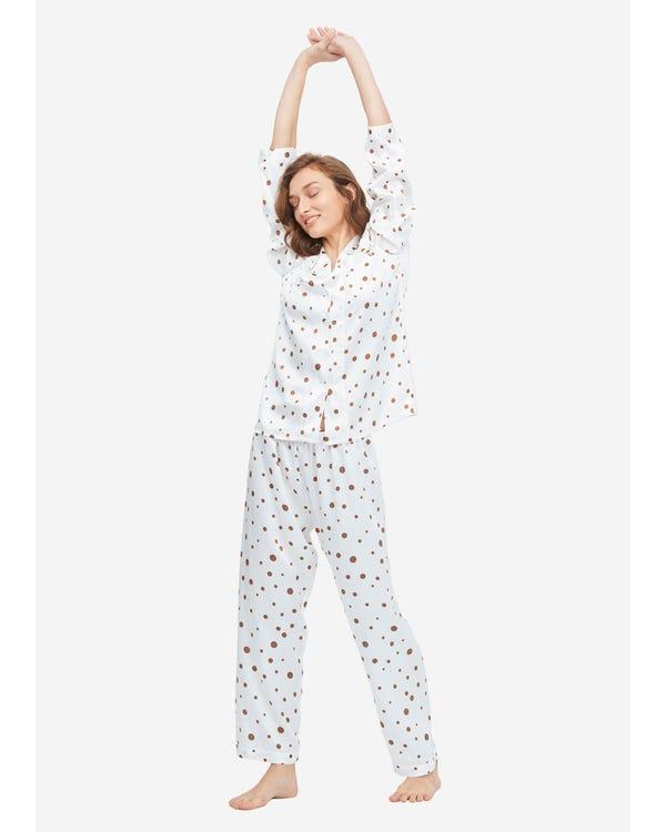 可愛い 水玉柄 シルクパジャマ上下セット