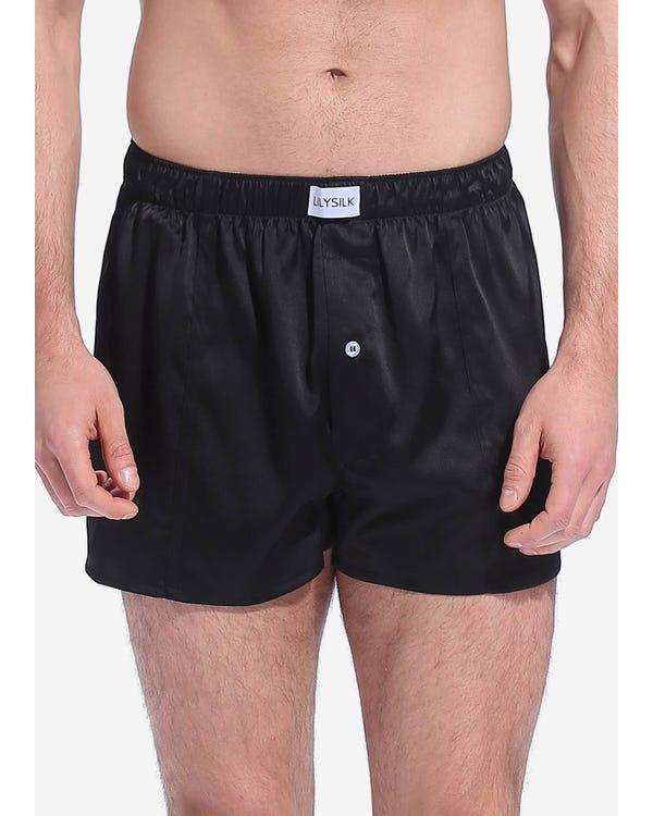 Шелковые мужские трусы-шорты Black XXL