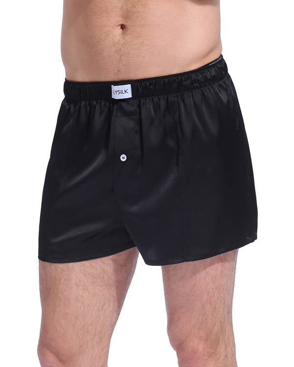Шелковые мужские трусы-шорты Black XXL-hover