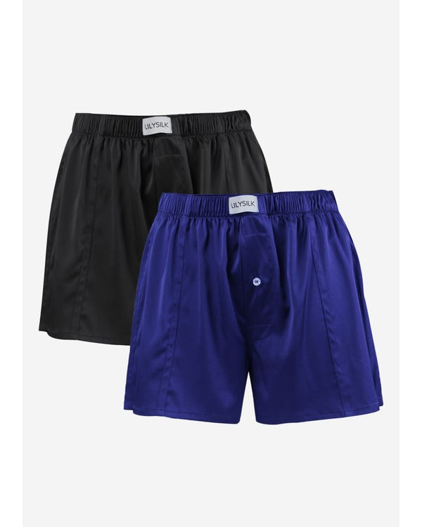 Luxury Fitted Draping Silk Boxer For Men 2 Pack Black-Blue L