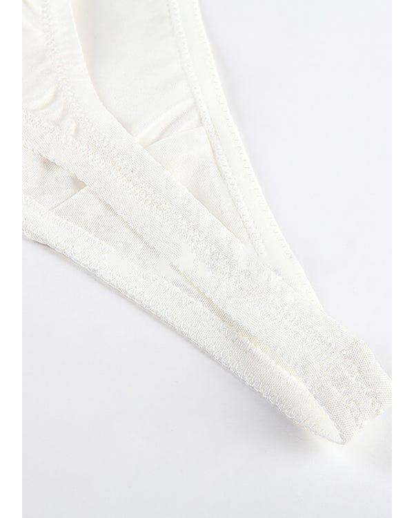 Womens Sexy Seamless Silk G-String White S-hover