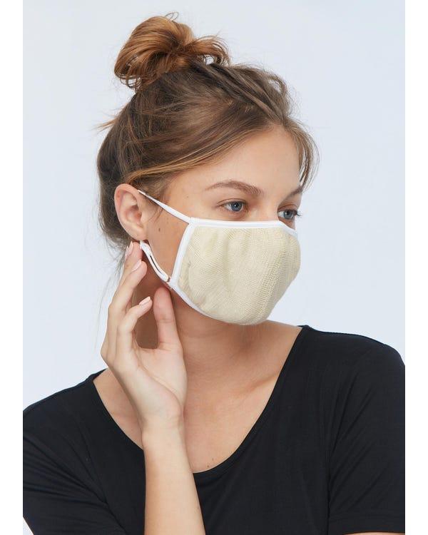 超柔らかい シルクニット睡眠マスク 通気 大きめサイズ UVカット 美顔マスク 伸縮性よい Beige 10-Packs