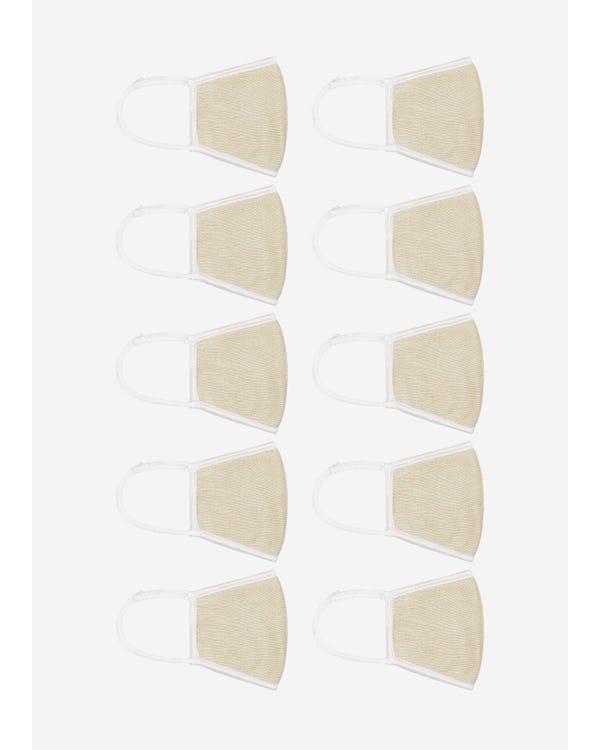 超柔らかい シルクニット睡眠マスク 通気 大きめサイズ UVカット 美顔マスク 伸縮性よい Beige 10-Packs-hover