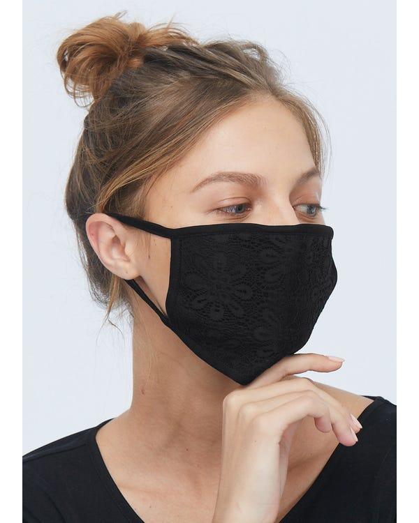 超柔らかい シルクニット睡眠マスク 通気 大きめサイズ UVカット 美顔マスク 伸縮性よい 花柄 Black 10-Packs