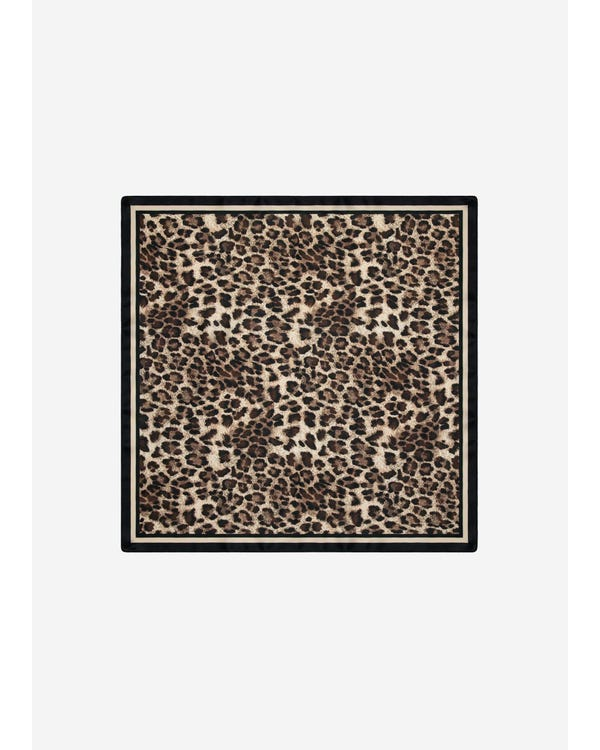 14 Momme Leopard Print Square Silk Scarf