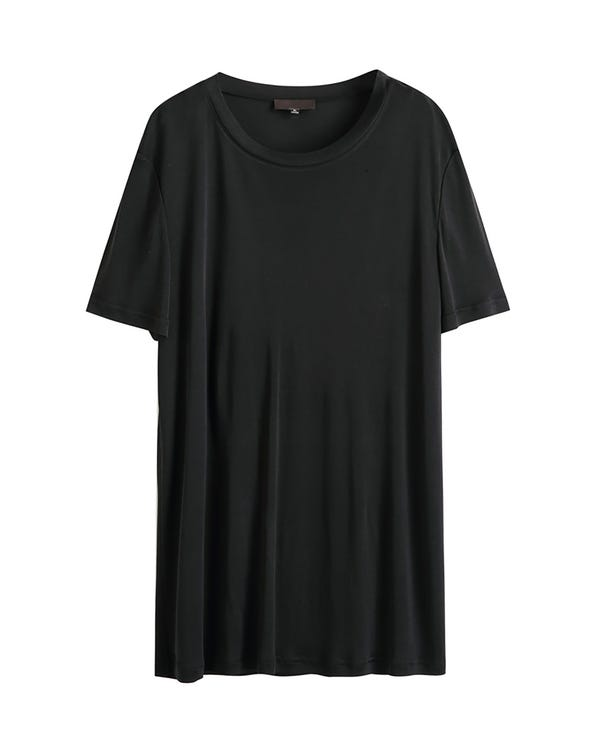 Mens Classic Crew Neck Silk T-Shirt Black M