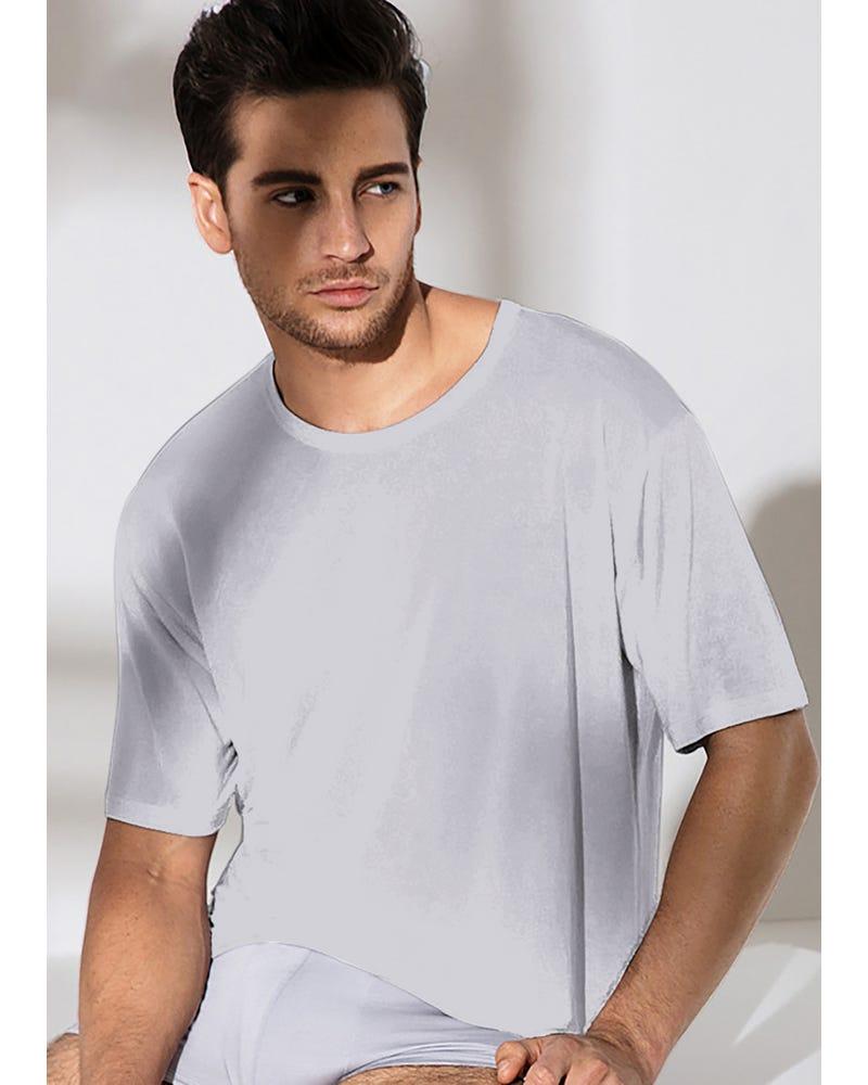 メンズ 定番サテン100%Tシャツ春夏 通気性抜群 極上の肌触り スポーツ ジョギング薄着 パジャマ ナイトウエア ルームウエア