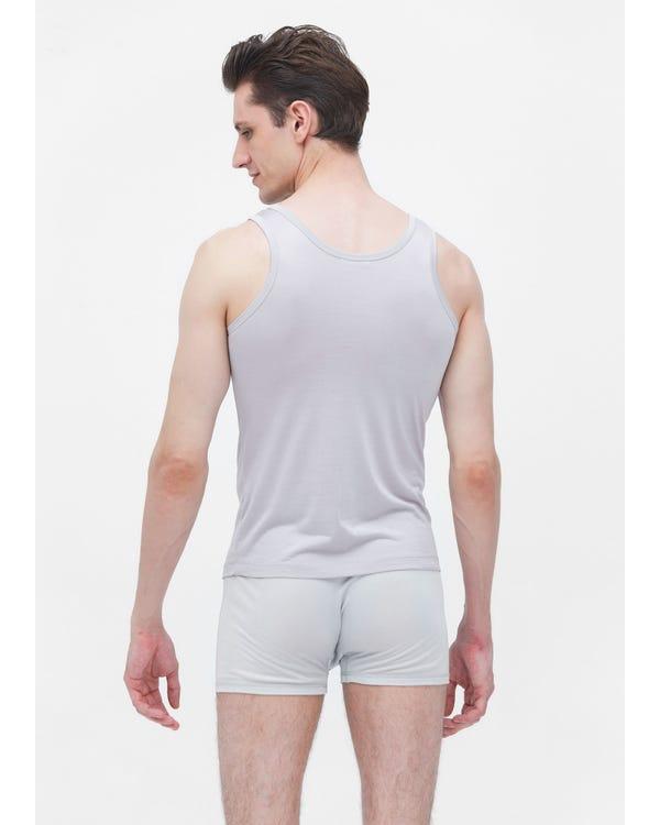Mens Round Neck Sleeveless Silk Tank Top Gray L