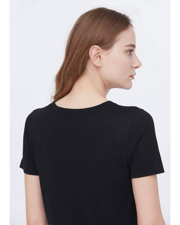 Soft Pure Silk Knitted T-shirt
