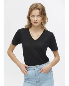Slim Fit V Neck Silk Knitted T-Shirt
