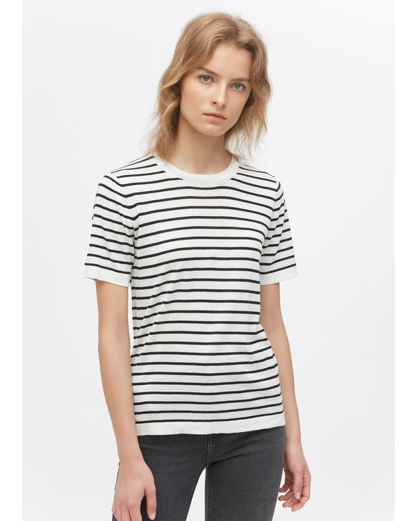 Crewneck Short-Sleeve Silk Striped Knitted T-Shirt-hover