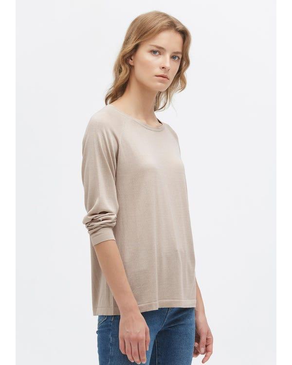 シンプル 丸首 長袖 無地シルクニット tシャツ