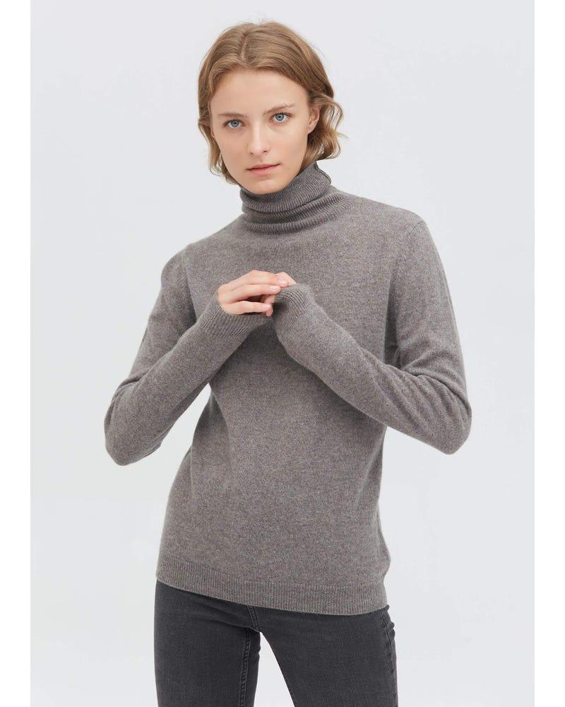 レディース 上質カシミア100% タートルネック セーター