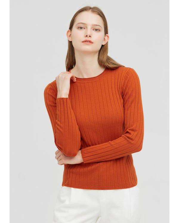 シルクとウール リブ編み セーター