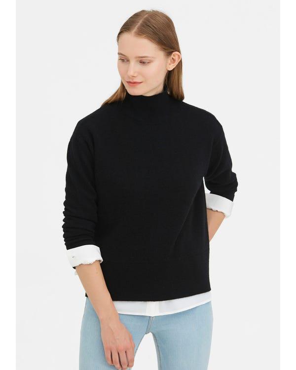 暖かいタートルネック ニット ウールセーター