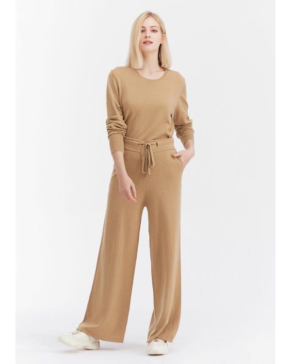 シルク ニット ベルト付き ズボン ロングパンツ