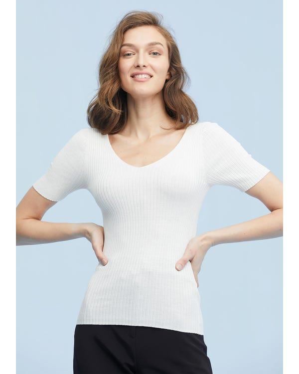 シルクニット Vネック tシャツ