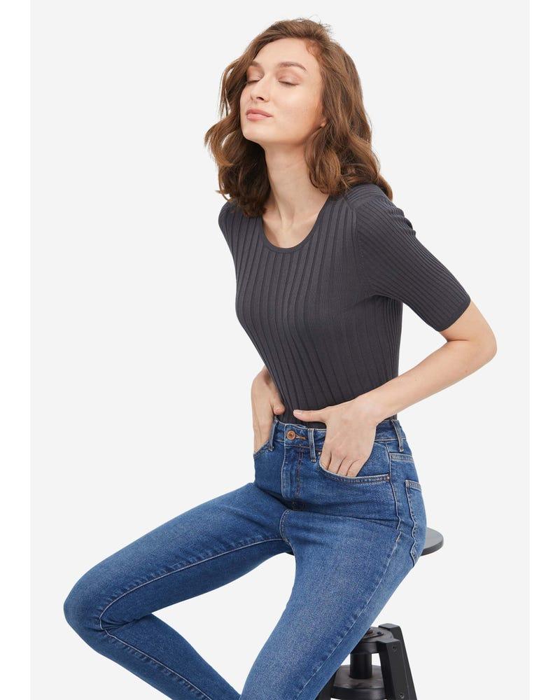 クラシック 半袖シルクニットtシャツ