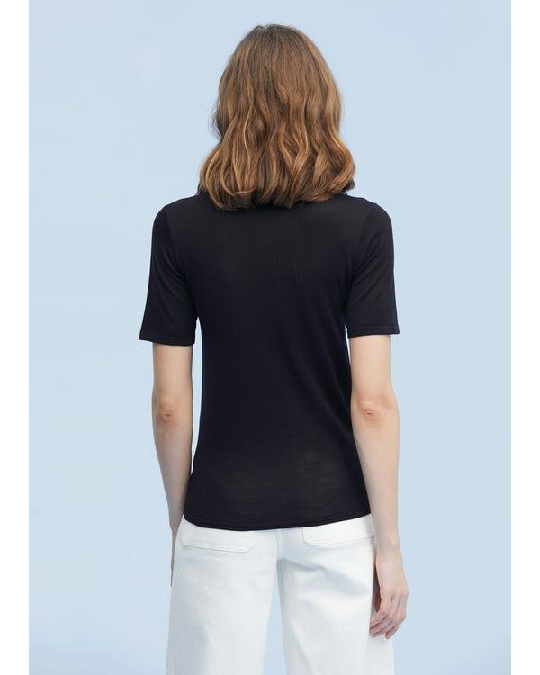 定番 Uネック シルク ニット tシャツ