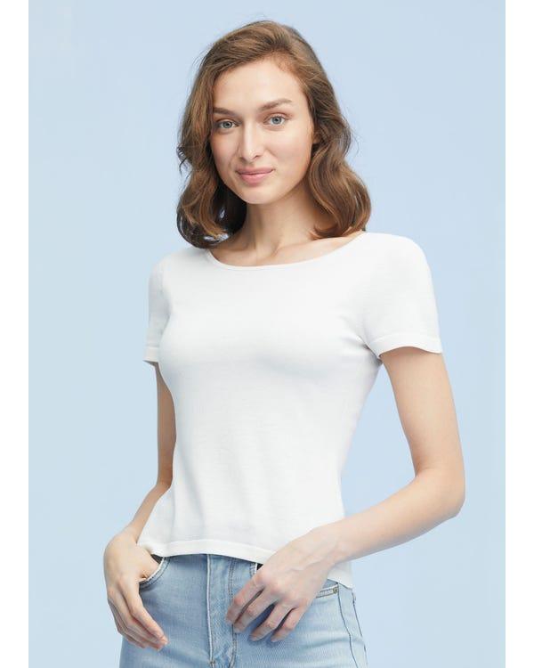 上品 前後ろどちらでも着られる シルクニット tシャツ