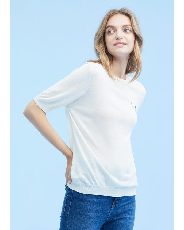通気 半袖 シルク ニット Tシャツ