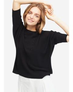 ルーズフィット 可愛いスリーブ シルクニットTシャツ