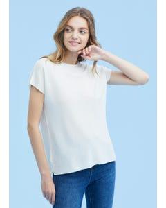 通気 丸首 シルクニットTシャツ