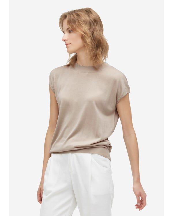 お洒落 丸首 シルク ニット Tシャツ 春夏におすすめ