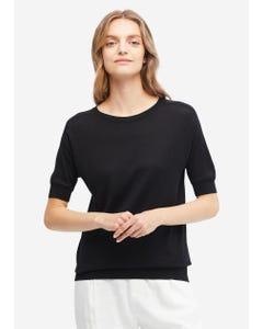 贅沢 丸首 シルクニットTシャツ