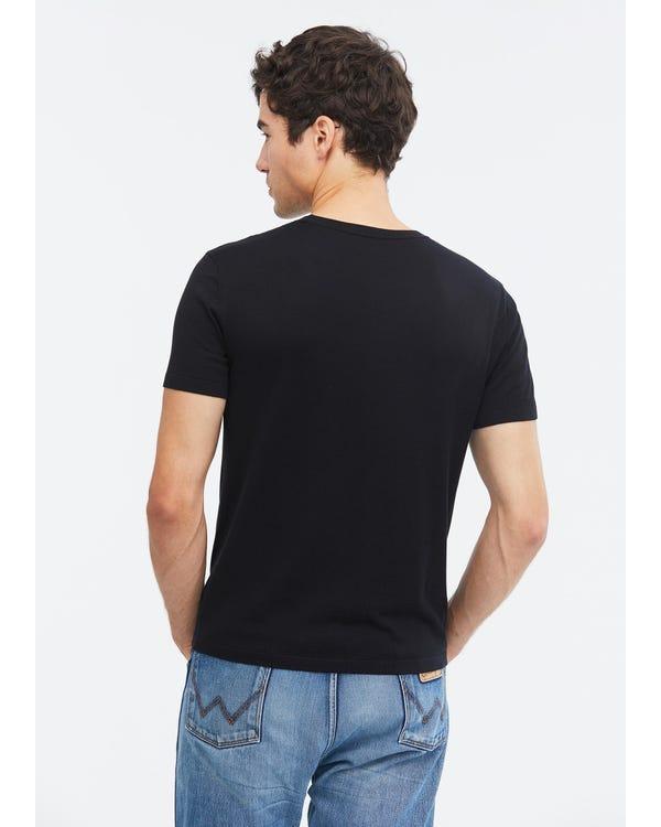 Mens Crew Neck Silk Knitted T Shirt Black L