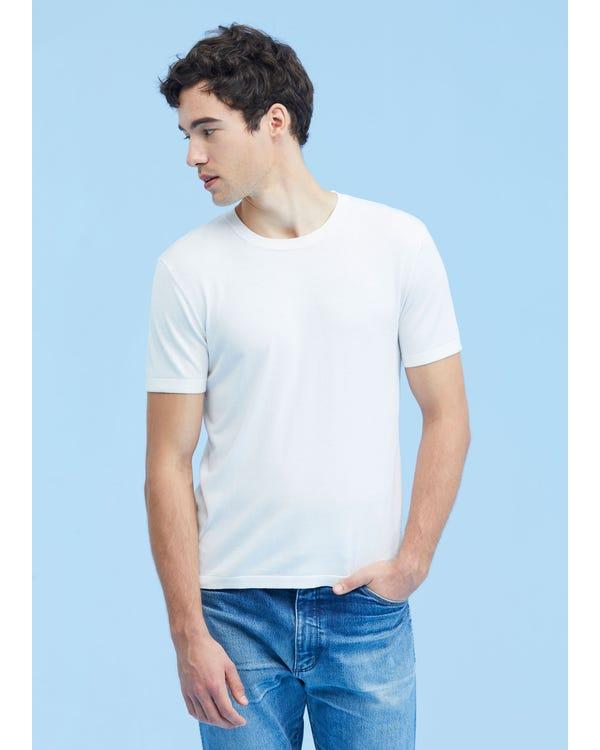 メンズ クルーネック シルク ニット Tシャツ