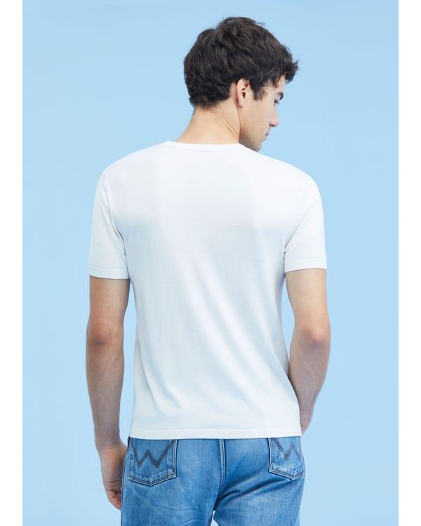 メンズ クルーネック シルク ニット Tシャツ-hover