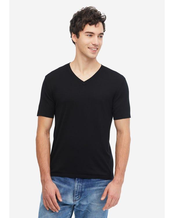 メンズ 定番 シルクニット Tシャツ Black L