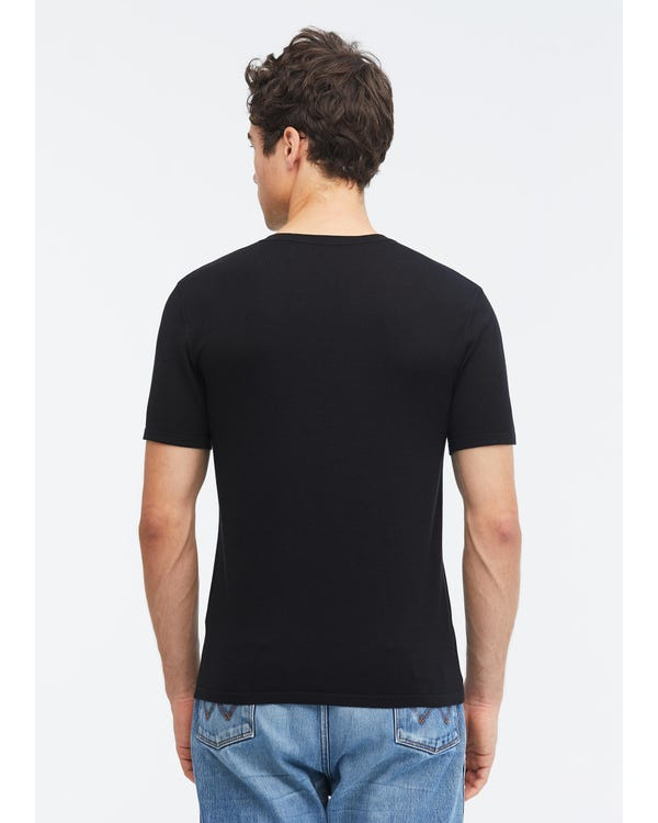 メンズ 定番 シルクニット Tシャツ Black L-hover