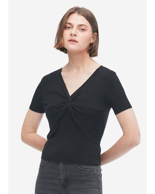 シンプル シルクニットTシャツ 蝶結び