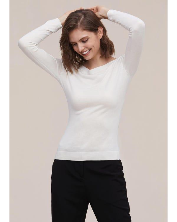 上品 ボートネック 長袖 シルクニットTシャツ-hover