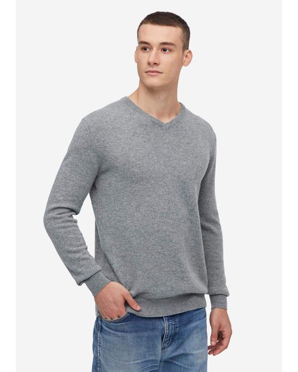 メンズ Vネック カシミア セーター Light Gray S