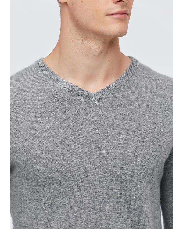 メンズ Vネック カシミア セーター Light Gray S-hover