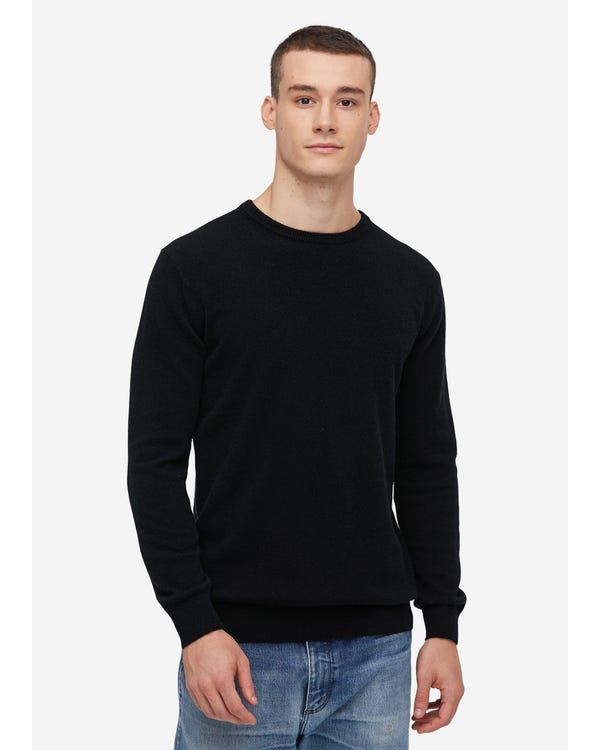 Crew Neck Cashmere Sweater For Men Black S