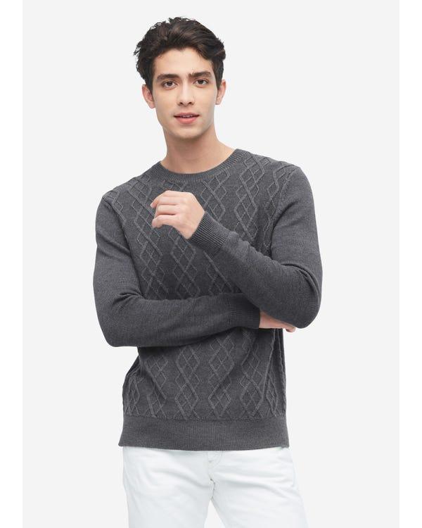 紳士 アーガイル ニット カシミア メンズ セーター gray-w01 S