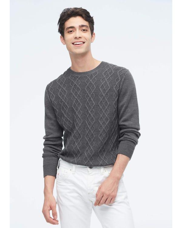 紳士 アーガイル ニット カシミア メンズ セーター gray-w01 S-hover