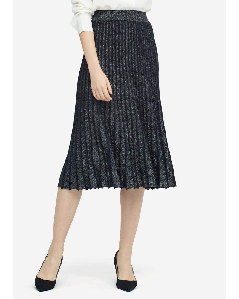 贅沢 シルク ニット プリーツ スカート
