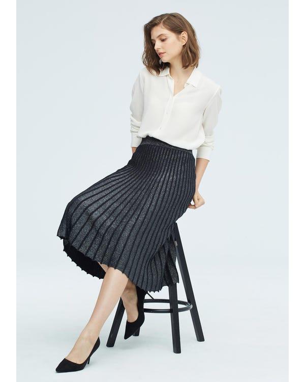 贅沢 シルク ニット プリーツ スカート-hover
